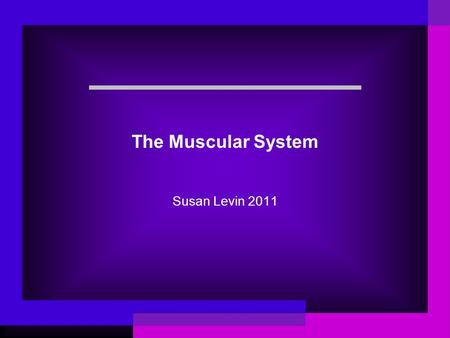 The Muscular System Susan Levin 2011. What muscles are you using right now? Make a list.