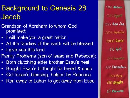Background to Genesis 28 Jacob Grandson of Abraham to whom God promised: I will make you a great nation All the families of the earth will be blessed I.