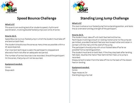 Speed Bounce Challenge What is it? This event is an exciting test of an students speed, rhythm and coordination, involving double footed jumps over a line.