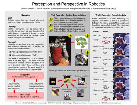Perception and Perspective in Robotics Paul Fitzpatrick MIT Computer Science and Artificial Intelligence Laboratory Humanoid Robotics Group Goal To build.