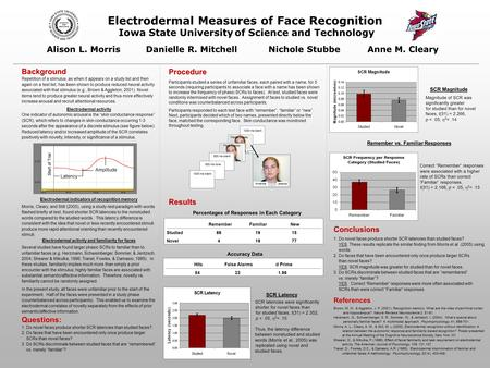 Electrodermal Measures of Face Recognition Iowa State University of Science and Technology Alison L. MorrisDanielle R. Mitchell Nichole Stubbe Anne M.