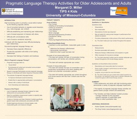 Pragmatic Language Therapy Activities for Older Adolescents and Adults Margaret D. Miller TIPS 4 Kids University of Missouri-Columbia INTRODUCTION High.