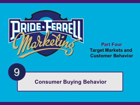 Part Four Target Markets and Customer Behavior 9 Consumer Buying Behavior.