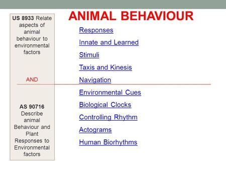 US 8933 Relate aspects of animal behaviour to environmental factors