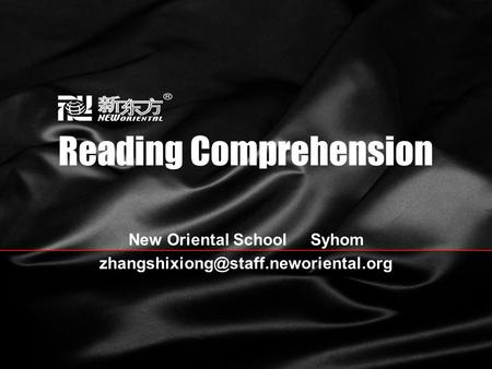 Reading Comprehension New Oriental School Syhom