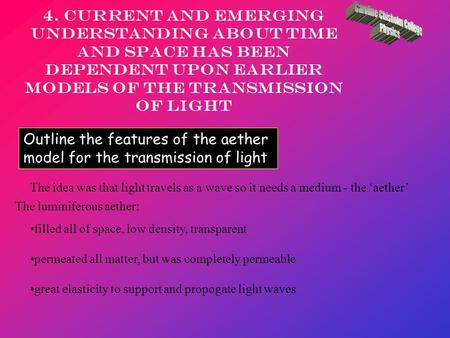 4. Current and emerging understanding about time and space has been dependent upon earlier models of the transmission of light Outline the features of.