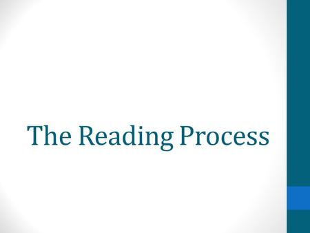 The Reading Process. Things to remember: Plan to read a text multiple times. Ideally, this will be in more than one sitting. Do not let yourself look.