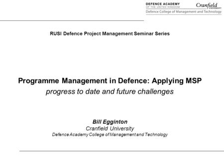 Programme Management in Defence: Applying MSP