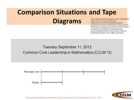Common Core Leadership in Mathematics Project, University of Wisconsin-Milwaukee, 2012 - 2013 Comparison Situations and Tape Diagrams Tuesday September.