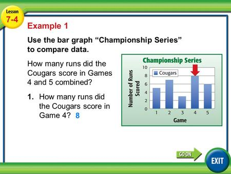 "7-4 Lesson 7-4 Example 1 Use the bar graph ""Championship Series"" to compare data. How many runs did the Cougars score in Games 4 and 5 combined? Example."