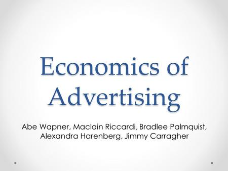 Economics of Advertising