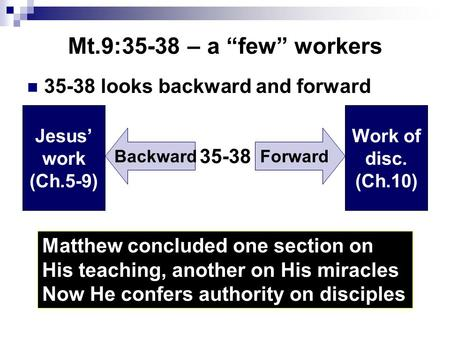 "Mt.9:35-38 – a ""few"" workers 35-38 looks backward and forward Matthew concluded one section on His teaching, another on His miracles Now He confers authority."
