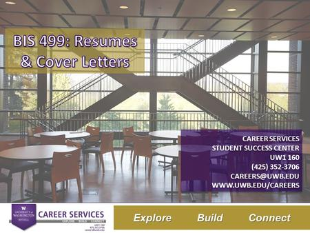 Title of Presentation Here Subtitle Here Explore Build Connect CAREER SERVICES STUDENT SUCCESS CENTER UW1 160 (425) 352-3706