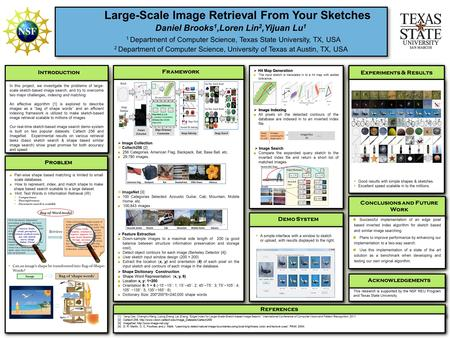 Large-Scale Image Retrieval From Your Sketches Daniel Brooks 1,Loren Lin 2,Yijuan Lu 1 1 Department of Computer Science, Texas State University, TX, USA.