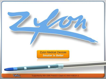 Subtitle Text Here Zylon Medical Devices Smaller Is Better Supported by NIH SBIR PHASE II Grant # 5 R44 H 68331-3.
