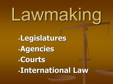 Legislatures Agencies Courts International Law