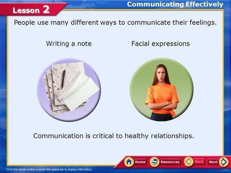 Lesson 2 People use many different ways to communicate their feelings. Writing a note Facial expressions Communication is critical to healthy relationships.