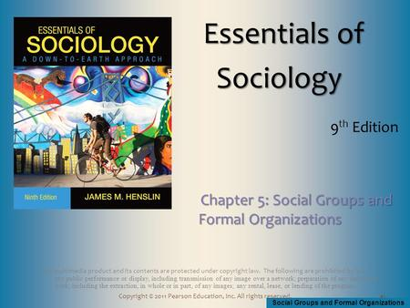 Social Groups and Formal Organizations Copyright © 2011 Pearson Education, Inc. All rights reserved. This multimedia product and its contents are protected.