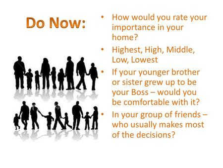 Do Now: How would you rate your importance in your home?