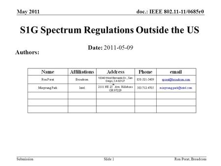 Doc.: IEEE 802.11-11/0685r0 Submission May 2011 Ron Porat, Broadcom S1G Spectrum Regulations Outside the US Date: 2011-05-09 Authors: Slide 1.