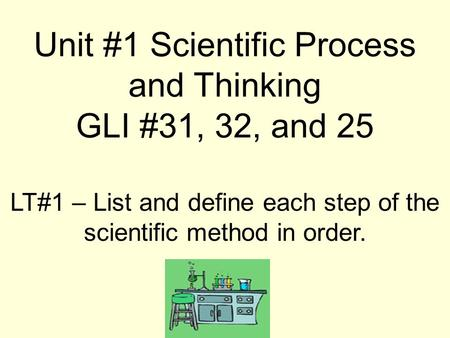 LT#1 – List and define each step of the scientific method in order. Unit #1 Scientific Process and Thinking GLI #31, 32, and 25.