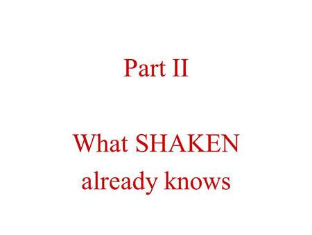 Part II What SHAKEN already knows. SHAKEN's Components What SHAKEN already knows is organized in components We will look only at the components needed.