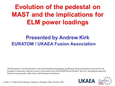 A. Kirk, 21 st IAEA Fusion Energy Conference, Chengdu, China, October 2006 Evolution of the pedestal on MAST and the implications for ELM power loadings.