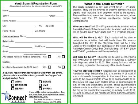 Youth Summit Registration Form (Please detach and return to the school's main office by March 18 th.) Name _______________________________________________.