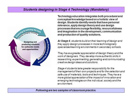 Following are two samples of classroom practice. Technology education integrates both procedural and conceptual knowledge based on a holistic view of design.