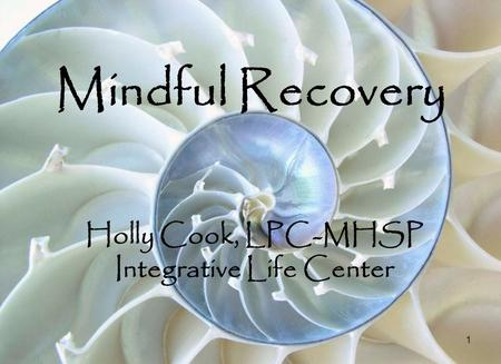1 Mindful Recovery Holly Cook, LPC-MHSP Integrative Life Center.