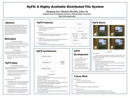Abstract HyFS: A Highly Available Distributed File System Jianqiang Luo, Mochan Shrestha, Lihao Xu Department of Computer Science, Wayne State University.