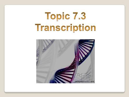 Topic 7.3 Transcription.