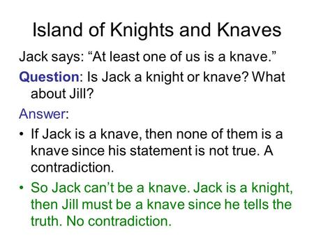 "Island of Knights and Knaves Jack says: ""At least one of us is a knave."" Question: Is Jack a knight or knave? What about Jill? Answer: If Jack is a knave,"