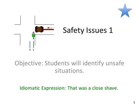 Safety Issues 1 Objective: Students will identify unsafe situations. Idiomatic Expression: That was a close shave. 1.
