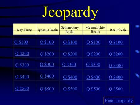 Jeopardy Key TermsIgneous Rocks Sedimentary Rocks Metamorphic Rocks Rock Cycle Q $100 Q $200 Q $300 Q $400 Q $500 Q $100 Q $200 Q $300 Q $400 Q $500 Final.