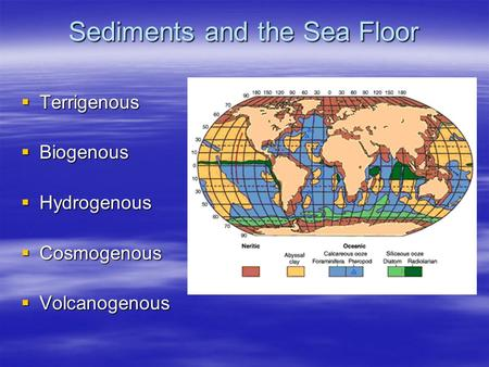 Sediments and the Sea Floor  Terrigenous  Biogenous  Hydrogenous  Cosmogenous  Volcanogenous.