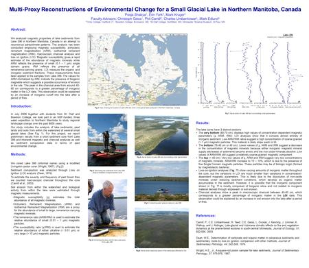 Multi-Proxy Reconstructions of Environmental Change for a Small Glacial Lake in Northern Manitoba, Canada Pooja Shakya 1, Erin York 2, Mark Kruger 3 Faculty.
