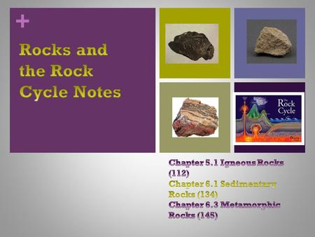 +. + Three types of Rocks 1. Igneous 2. Sedimentary 3. Metamorphic.