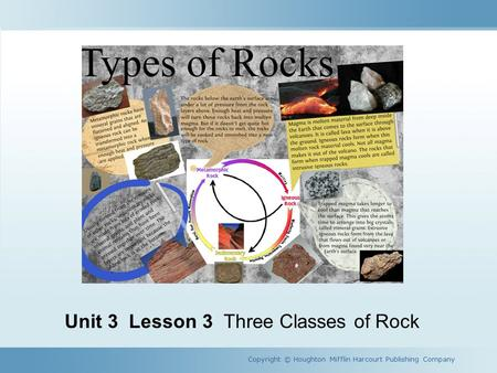 Unit 3 Lesson 3 Three Classes of Rock Copyright © Houghton Mifflin Harcourt Publishing Company.