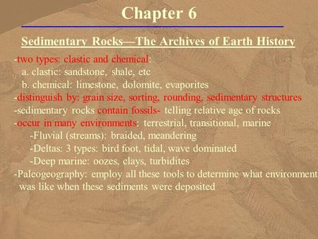 Chapter 6 Sedimentary Rocks—The Archives of Earth History