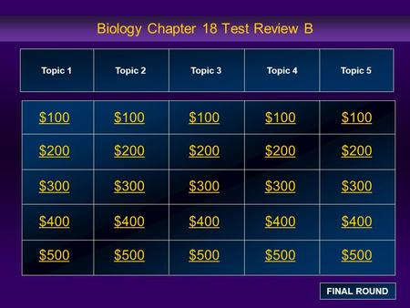 Biology Chapter 18 Test Review B $100 $200 $300 $400 $500 $100$100$100 $200 $300 $400 $500 Topic 1Topic 2Topic 3Topic 4 Topic 5 FINAL ROUND.