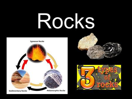 Rocks. 3 types of rock Igneous Metamorphic Sedimentary.