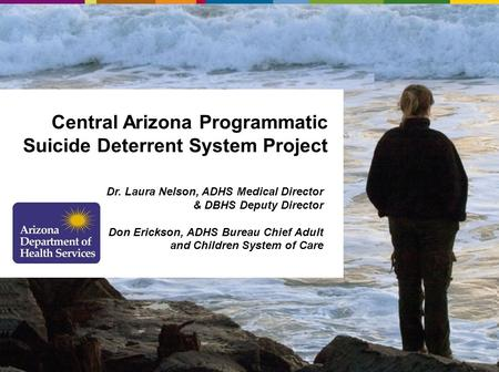 Central Arizona Programmatic Suicide Deterrent System Project Dr. Laura Nelson, ADHS Medical Director & DBHS Deputy Director Don Erickson, ADHS Bureau.
