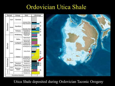 Ordovician Utica Shale Utica Shale deposited during Ordovician Taconic Orogeny.