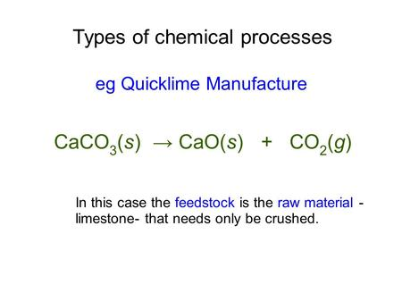Types of chemical processes eg Quicklime Manufacture CaCO 3 (s) → CaO(s) + CO 2 (g) In this case the feedstock is the raw material - limestone- that needs.