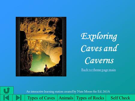 Exploring Caves and Caverns Back to theme page main Types of CavesAnimalsTypes of Rocks An interactive learning station created by Nate Moore for Ed. 265A.