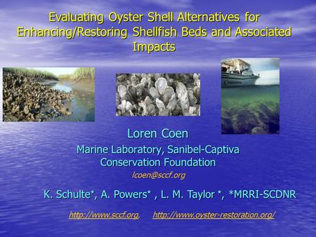 Evaluating Oyster Shell Alternatives for Enhancing/Restoring Shellfish Beds and Associated Impacts Loren Coen Marine Laboratory, Sanibel-Captiva Conservation.