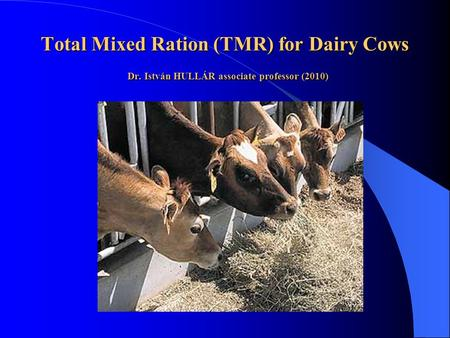 Total Mixed Ration (TMR) for Dairy Cows Dr. István HULLÁR associate professor (2010)