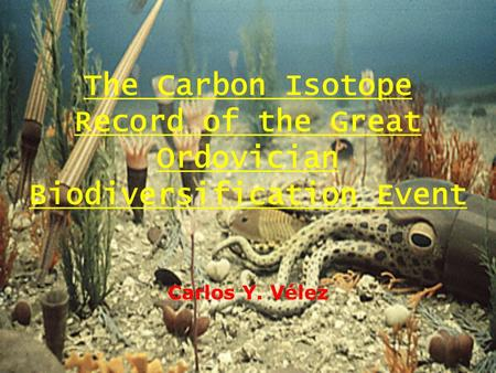 The Carbon Isotope Record of the Great Ordovician Biodiversification Event Carlos Y. Vélez.