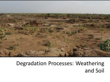 Degradation Processes: Weathering and Soil. Just to review a few things… Weathering: Process by which rock begins to come apart. Erosion: The weathering.